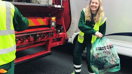 Catherine learning about waste separation during a shift with Hackney's recycling team. Picture: Hac