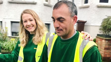 Catherine during her shift with Hackney's recycling team ahead of her wedding day. Picture: Hackney