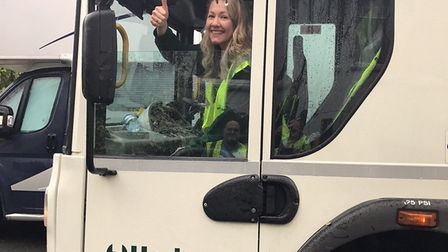 Catherine on her shift with the Hackney waste and recycling team. Picture: Hackney Council