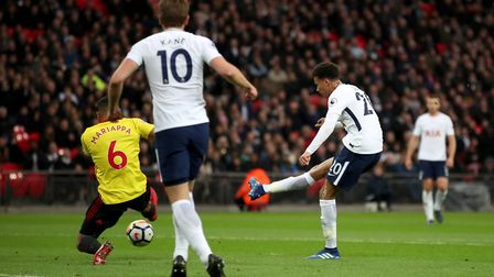 Tottenham Hotspur's Dele Alli scores his side's first goal of the game during the Premier League mat