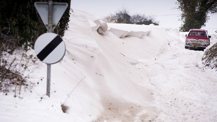 Snow drifts have engulfed many roads in Norfolk and Waveney. Picture: Nick Butcher