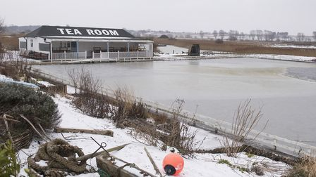 Southwold boating lake is partially frozen over.Picture: Nick Butcher