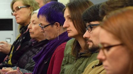 The audience listen to the panel's responses. Centre with purple hair, organiser Jane Holgate. Pictu