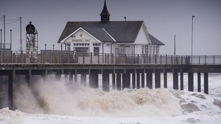 High winds from the 'Beast from the East' storm batter Southwold pier. Picture: Nick Butcher