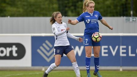 Tottenham Hotspur Ladies captain Jenna Schillaci looks to tackle a Durham Women opponent (pic: wusph