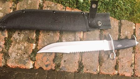 The hunting knife found on a 16-year-old today by the Met's task force.