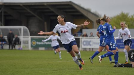 Bianca Baptiste celebrates after scoring for Tottenham Hotspur Ladies against Durham Women (pic: wus
