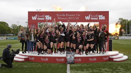 Saracens Women lift the Tyrells Premier 15s trophy (pic: RFU Collection via Getty Images)