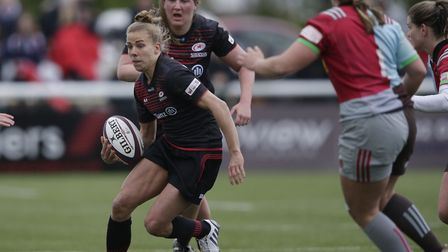 Action from the Tyrells Premier 15s final between Saracens Women and Harlequins (pic: RFU Collection