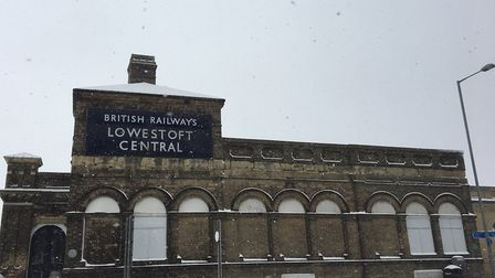 Snow falling at Lowestoft station caused all trains to be cancelled. PICTURE: East Suffolk Lines Community Rail Partnership