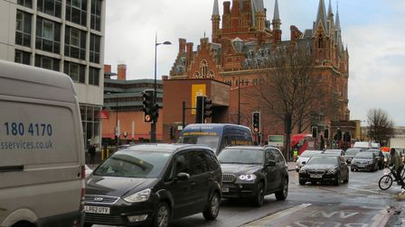 The crash happened in Euston Road's junction with Midland Road, near the British Library. General vi