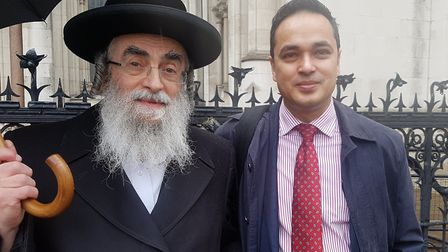 Asher Gratt and Abdul Hai outside the Royal Courts of Justice after the judgement