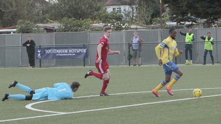 Haringey Borough forward Ralston Gabriel on his way to finding the net (pic: Tony Gay).