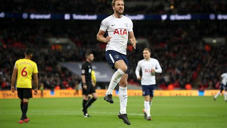 Tottenham Hotspur's Harry Kane celebrates scoring his side's second goal of the game during the Prem