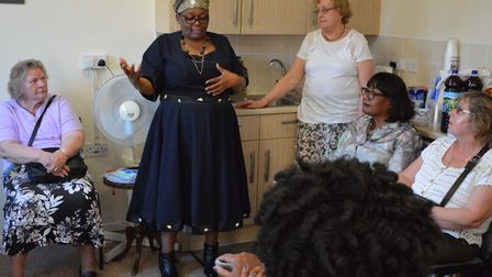 MP Diane Abbott visits the Lea View Social Club's knit and natter group. Picture: Hanover Housing