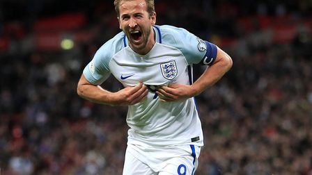 Harry Kane celebrates after scoring for England (pic: Adam Davy/PA Images).