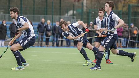 Matt Guise-Brown fires home from a short corner for Hampstead & Westminster (pic Mark Clews)