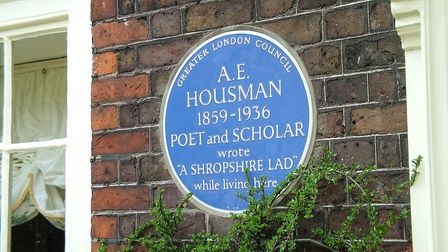 A blue plaque to commemorate A.E Housman's links to Byron Cottage is on display