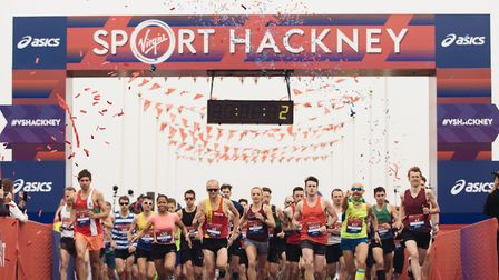 Runners at the start line for Sunday's Hackney Half on the marshes. Picture: VIRGIN SPORT