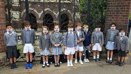 Children standing at the top of Haverstock Hill to highlight the dangers of pollution from CS11. Pic