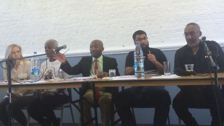 The panel at the crime event in Stoke Newington. Picture: Lucas Cumiskey