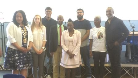 Members of Hackney Labour and the panel at the meeting. Picture: Lucas Cumiskey