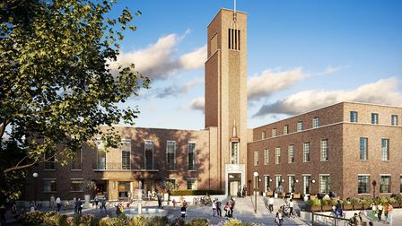 The artists impression of how Hornsey Town Hall will look after the development