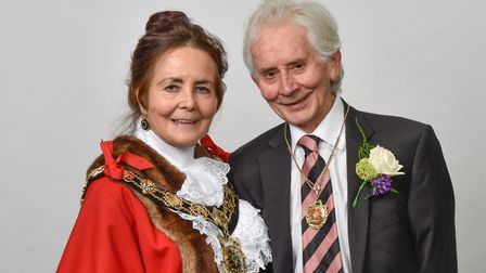 New mayor Jenny Headlam-Wells with her consort for the year, and husband - Robin Picture: Justin Tho