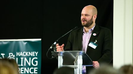 Phil Glanville speaks at the annual cycling conference. Picture: Gary Manhine/Hackney Council
