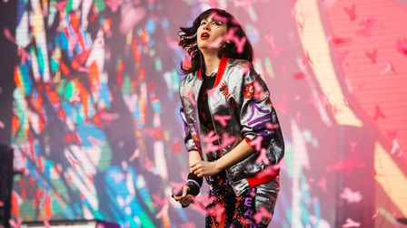 Karen O of Yeah Yeah Yeahs performs at All Points East on Friday night. Picture: Jordan Curtis Hughe