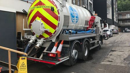 The Thames Water lorry which has been parked up outside Ashleigh's home in Long Street for seven wee