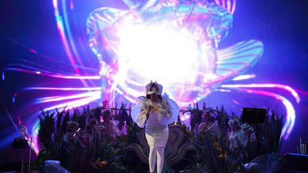 Bjork on stage during her Sunday night set at All Points East in Victoria Park. Picture: Santiago Fe
