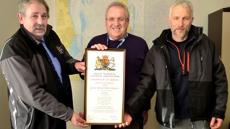 Lifeboat Operations Manager Paul Carter, Captain Richard Musgrove and Lowestoft Lifeboat Coxswain Jo