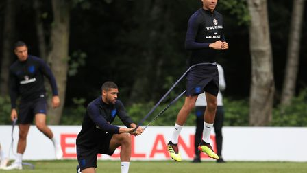 England's Dele Alli and Ruben Loftus-Cheek during a training session at The Grove Hotel (pic Mike Eg