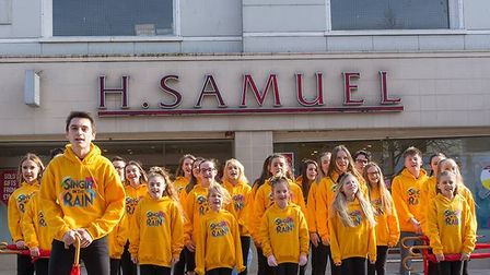 The B&B Young People's Theatre Group during a recent flash mob performance in Lowestoft town centre.