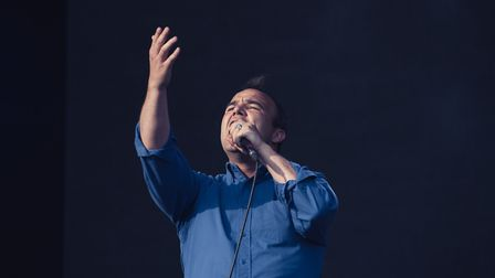 Samuel T Herring on stage with Future Islands at All Points East in Victoria Park on Saturday. Pictu