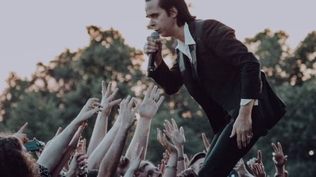 Nick Cave on stage with the Bad Seeds at All Points East in Victoria Park on Sunday. Picture: Hollie