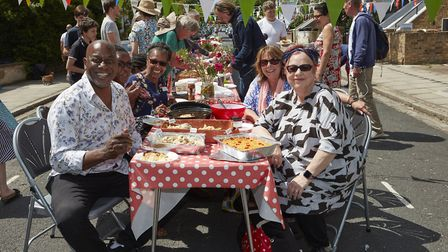 Comedian Jo Brand and TV presenter Ainsley Harriott joined a street party in Farleigh Road