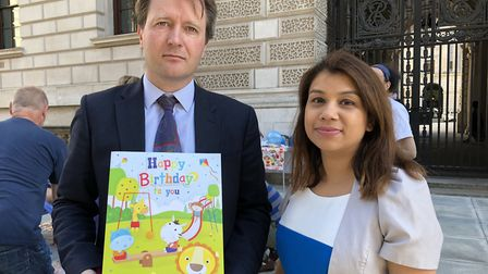 Tulip Siddiq MP and Richard Ratcliffe at the protest on Monday. Picture: Linda Grove