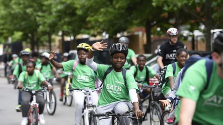 Kids taking part in the Bike Around the Borough event last year. Picture: Hackney Council