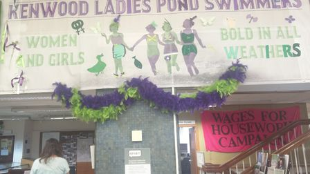 An old banner for Kenwood Ladies Pond Swimmers. Picture: Sam Volpe