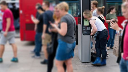 The InLink panel outside Camden Town Tube station being used to make a phone call. Picture: Siorna A