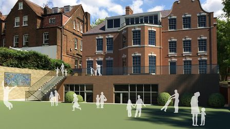A digital impression of what the rear of South Hampstead High School's junior school will look like.