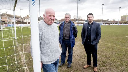 Lowestoft Town FC's directors Terry Beamish, Terry Lynes and Sam Hossack on the pitch.Picture: Nick