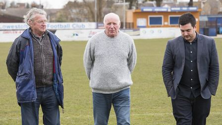 Lowestoft Town FC's directors Terry Lynes,Terry Beamish and Sam Hossack on the pitch.Picture: Nick B