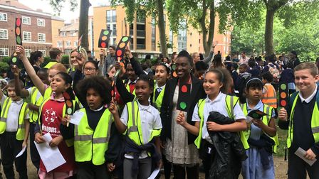 Kids celebrating their campaign success in Hoxton.