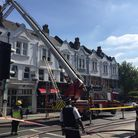 Firefighters at the scene today. Picture: Vicky Munro