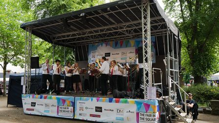 A brass band on the main stage
