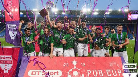 Hackney-based pub The Gun celebrate their BT Sport Pub Cup victory (Pic: Dave Haines)