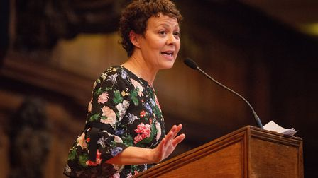 Actress Helen McCrory giving a rousing speech at UCS Hampstead's prize-giving ceremony. Photo by Gre